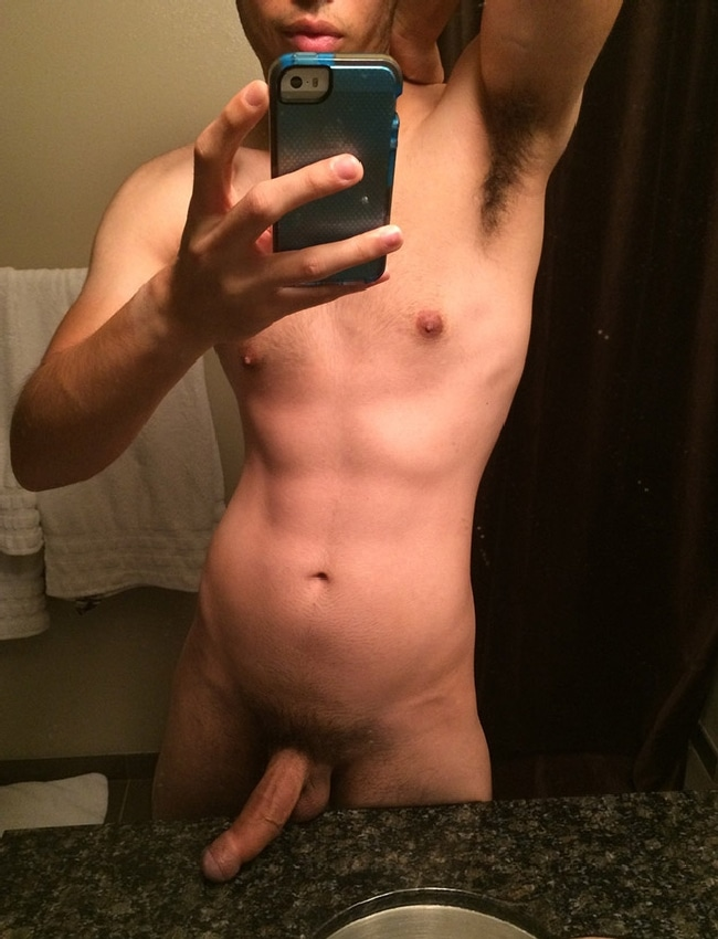 Nude Boy Taking Mirror Selfie