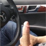Guy In A Car Holding His Hard Cut Cock