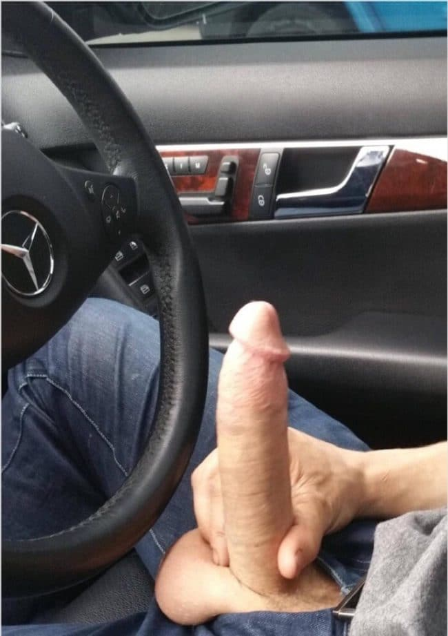 Guy In A Car Holding His Hard Cut Cock - Nude Twink Blog
